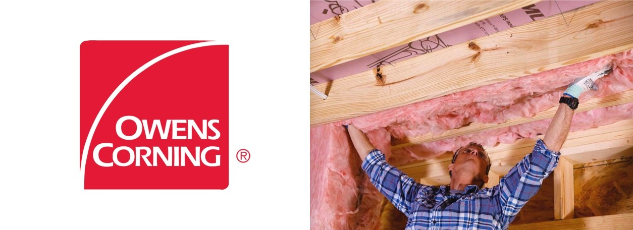 Owens Corning logo with person applying insulation