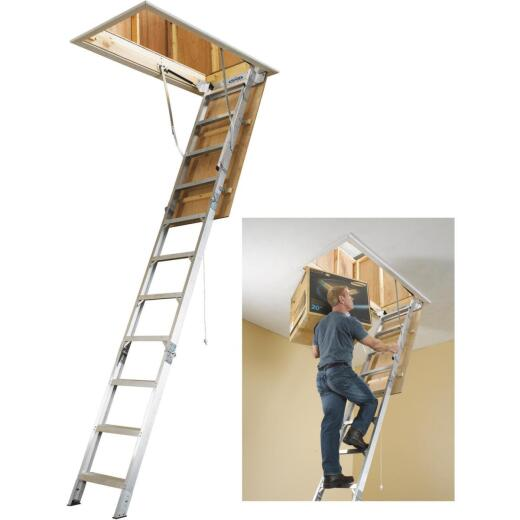 Werner Universal 8 Ft. to 10 Ft. 25 In. x 54 In. Aluminum Attic Stairs, 375 Lb. Load