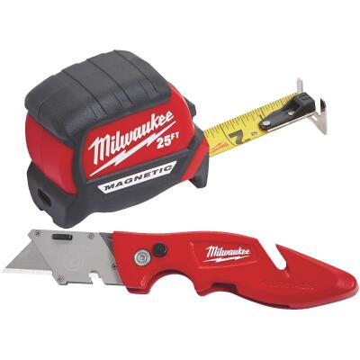 Milwaukee 25 Ft. Compact Magnetic Tape Measure and FASTBACK Utility Knife Combo Tool Set (2-Piece)