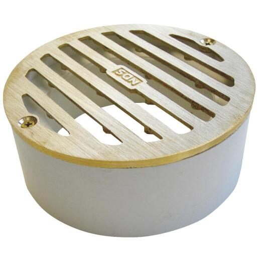 NDS 4 In. Satin Brass Solid Round Grate