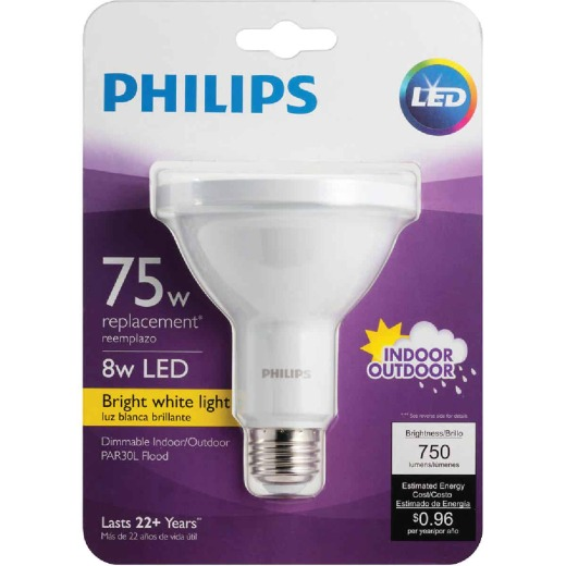 Philips 75W Equivalent Bright White PAR30 Long Neck Medium LED Floodlight Light Bulb