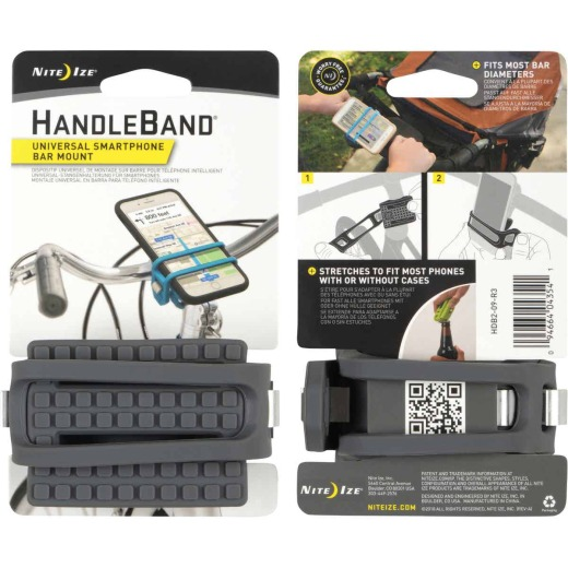 Nite Ize HandleBand 0.9 In. to 2 In. Bicycle Handlebar Gray Phone Holder