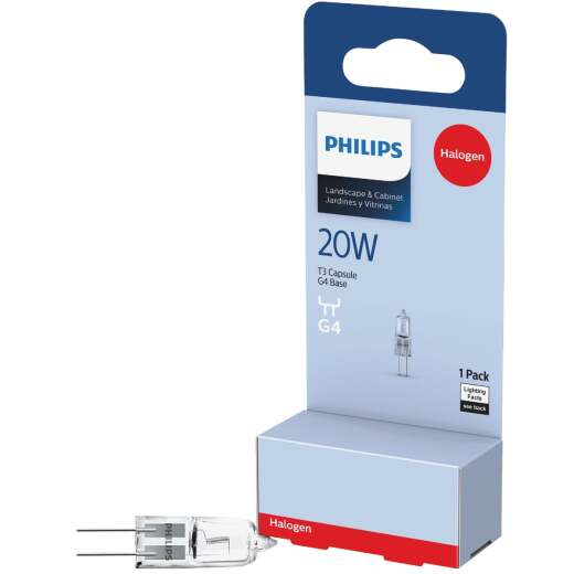 Philips 20W 12V Clear G4 Base T3 Halogen Landscape & Cabinet Light Bulb