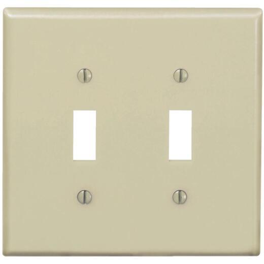 Leviton 2-Gang Thermoplastic Nylon Mid-Way Toggle Switch Wall Plate, Ivory