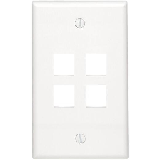 Leviton Quickport 4-Port White Flush Mount Wall Plate