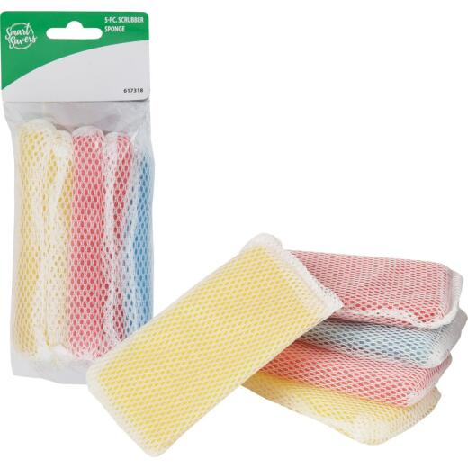 Smart Savers 5 In. x 2.7 In. Scrub Sponge (5-Count)